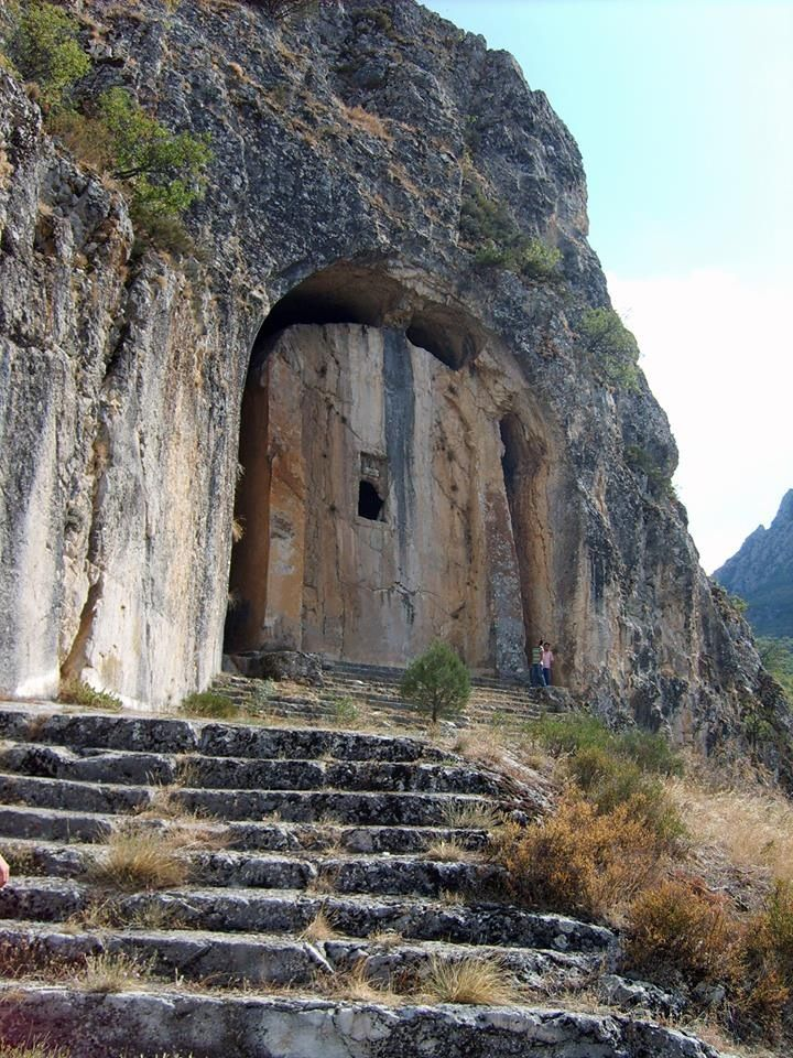 #Kapilikaya Rock #Tomb #Çorum #Turkey  It is in Turkey and located in Kırkdilim, 27 km north of Çorum, on a rocky, steep and rough land formed by rift valleys cracked by river, on the north- west corner of a rock which extends toward north.It is a rock tomb of the #Hellenistic period dating back to 2nd century B.C. It writes  #IKEZIOS  on the door of the tomb' s room. The room of the tomb is in square shape and there are deads' secchis carved as niche on the right and left sides of the…