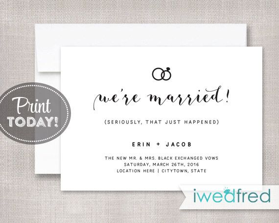 Just Married Announcement, Elopement Announcement, Marriage Announcement, Editable Template, PDF Instant Download, #WED109