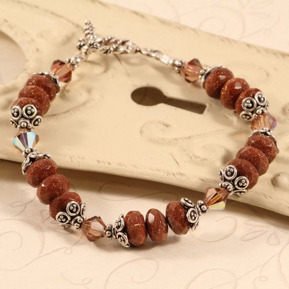 Goldstone Beaded Bracelet Brown Bracelet Sparkle by symphonyjewels