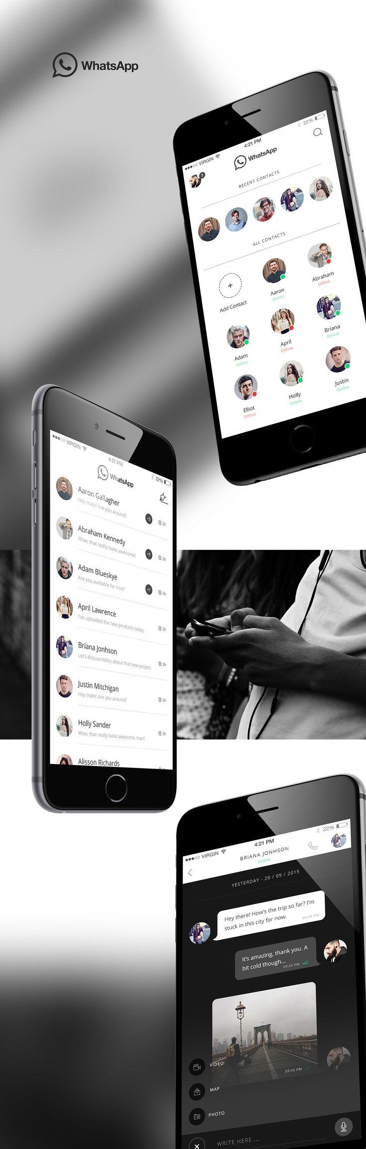 Dark WhatsApp UI Concept on Behance