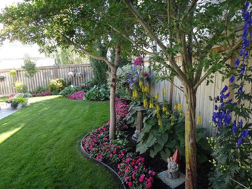 I like an undulating flower bed that is less formal.  I grew all the pink impatiens from seed in my basement under lights.  My kids laughingly call it my grow op.  Saves a lot of money and the plants are further ahead as  I could not plant this year until late May.  This picture is taken in early August and by late September the beds have been cleaned and are ready for winter and snow.