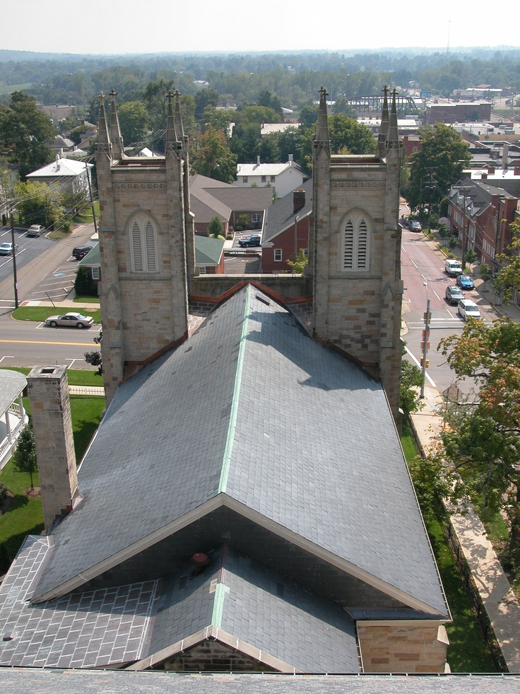 Breathtaking views of the slate roof on a church in Mt. Vernon, Ohio. Done by The Durable Slate Company