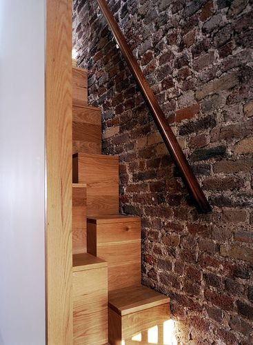 All wood alternating stairs