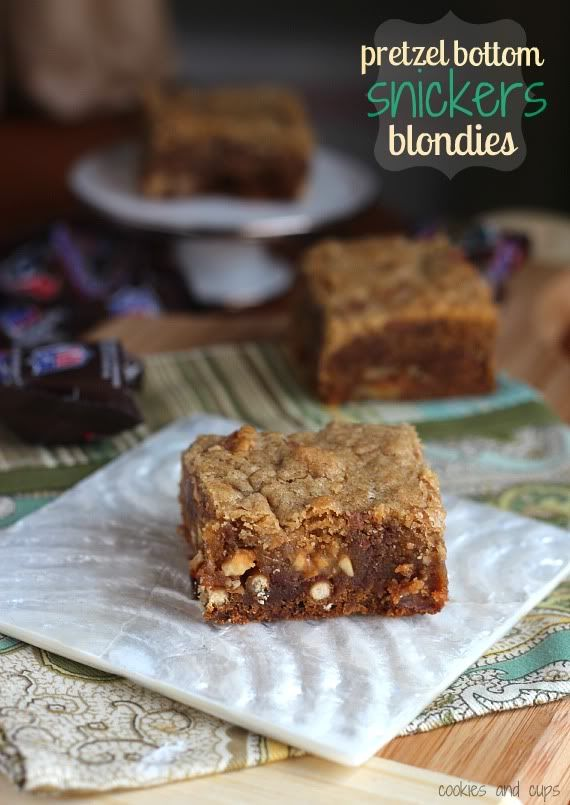 Pretzel Bottom Snickers Blondies. Used 24 Halloween fun sized Snickers. Do NOT put them in the fridge to cool them down. They are much better at room temperature.