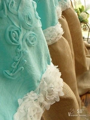 Turquoise Embroidery Ribbon ROSE SHABBY Rustic Chic Burlap SHOWER Curtain Ruffle