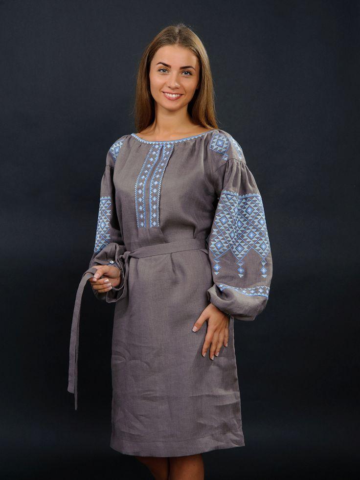 Платье серое с вышивкой - Volyns'ka Vyshyvanka