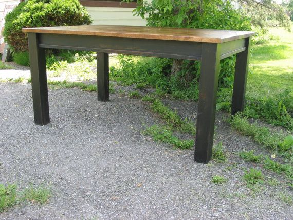 Farm House Table ,  Kitchen Table ,Rough Sawn Pine Table,Rustic Harvest Table ,Black painted Table on Etsy, $736.27