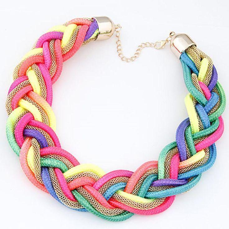 Vibrant Braided Mesh Choker Necklace