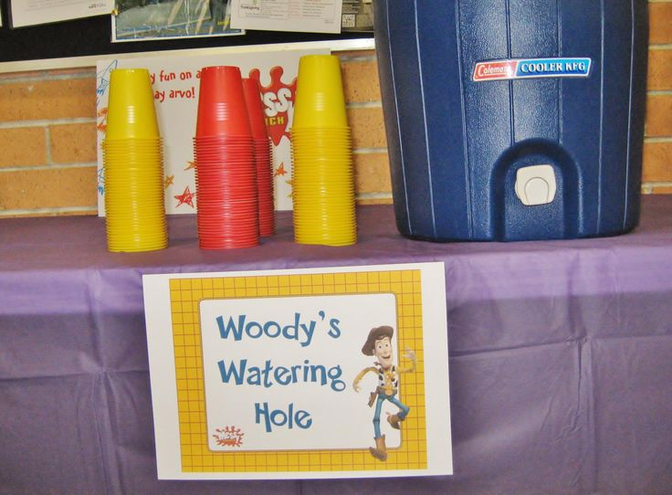 "Toy Story party drinks table - ""Woody's Watering Hole"" (Dapto Messy Church, May 2013)"