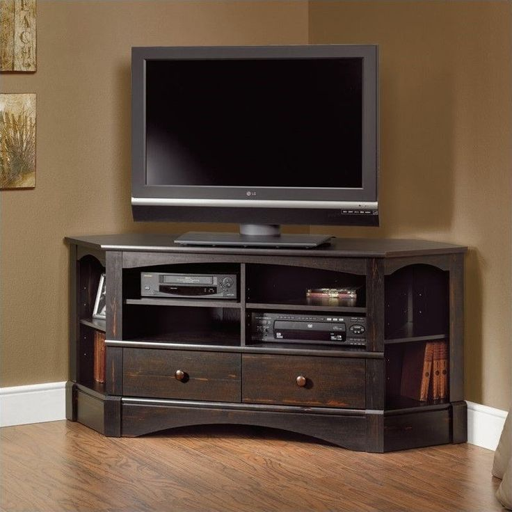 Sauder Harbor View Corner TV Stand in Antiqued Black
