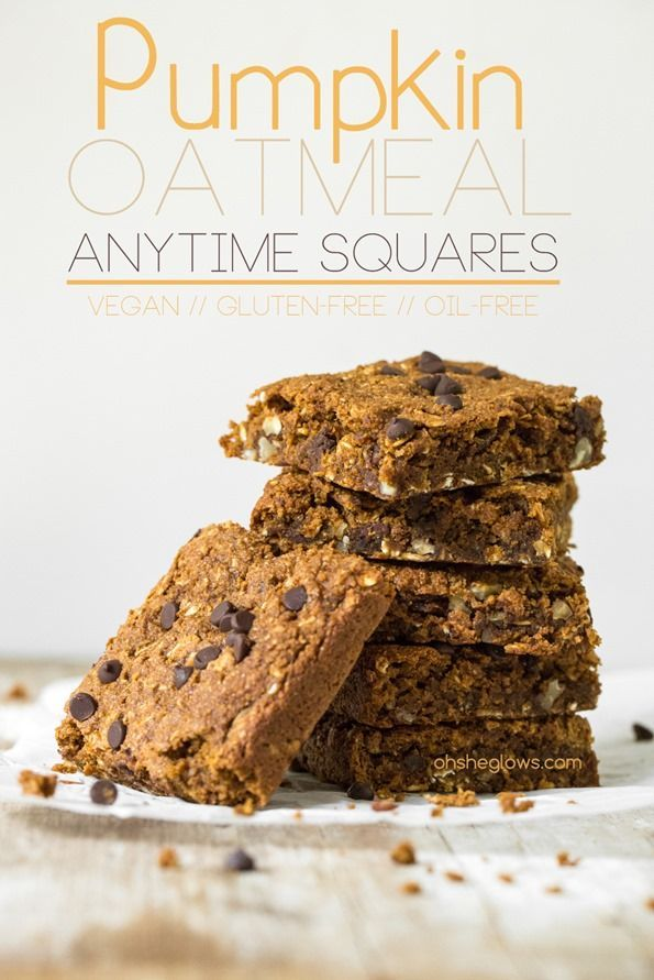 Pumpkin Oatmeal Anytime Squares (vegan, gluten-free, oil-free) — by Oh She Glows