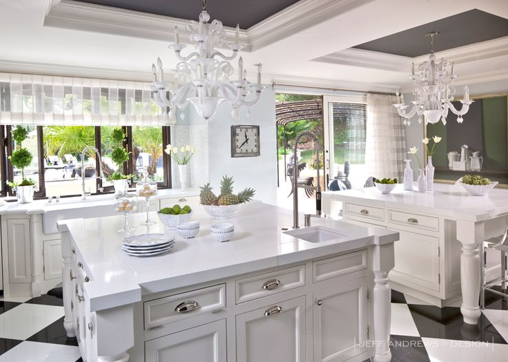 Celebrity Decor: Inside Bruce And Kris Jenneru0027s Old Hollywood Glamour  Calabasas Home Double Island Benches Instead Of Dinning Table.
