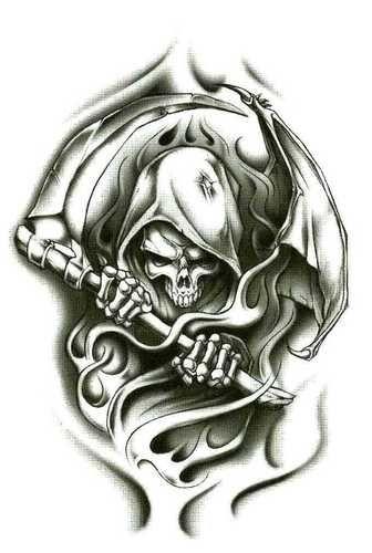 "Best Seller! 3 Pack Grim Reaper Wraith Temporary Body Art Tattoos 2.5"" x 3.5"" [hal-67] #tattoos #bodyart #grimreaper"