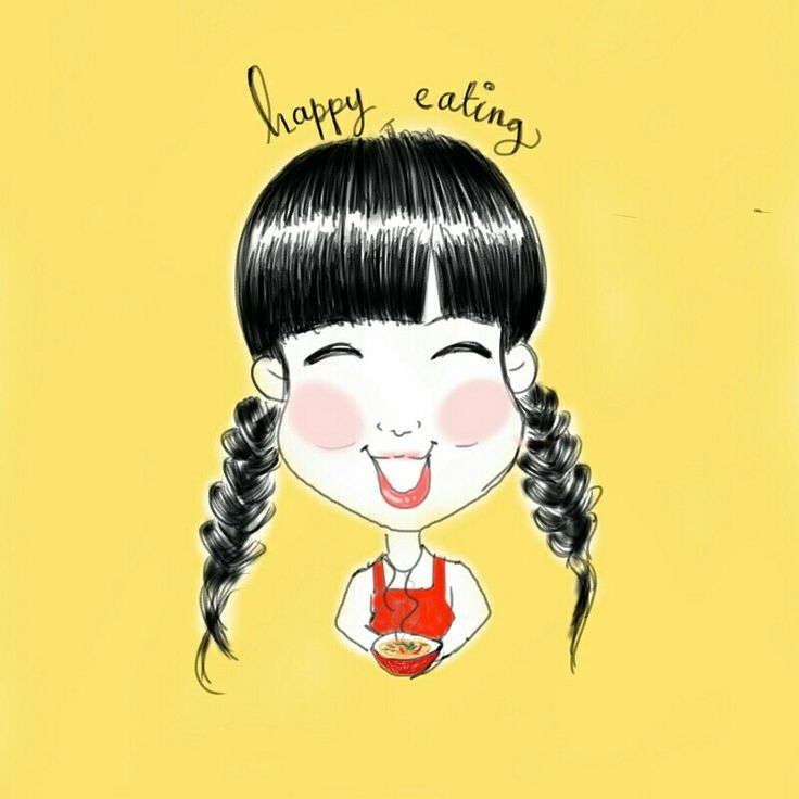 Happy girls love eating! Hahaha hungry all the time  #drawing #sketch #art #doodle #illustration