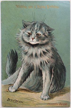 """ロンドンで仕入れてきた猫画家ルイス・ウェインのバースデーカードです。""""Chinchilla Persian""""というタイトルがついています。お誕生を祝うにしてはなんだか拗ねたようなペルシャ猫の顔ですね…。 ルイス・ウェインは19世紀末~20世紀初頭にかけて猫のイラストで一世を風靡したイラストレーターです。彼の絵はがきはコレクターの間で絶大な人気があります。メッセージや宛名が書かれたものの書き損じか、何かほかの理由で差出されなかったため年代が不明ですが、同じイラストのはがきで1906年差出しのものがありましたので、多分1902年以降~1900年代初頭のものだと思われます。息子か娘に宛ててお母さんから書かれれたお誕生日を祝う内容のようです。"""