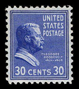 30c Theodore Roosevelt single