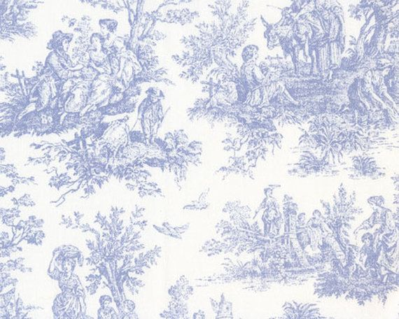 Blue french toile fabric french country home country for French toile fabric