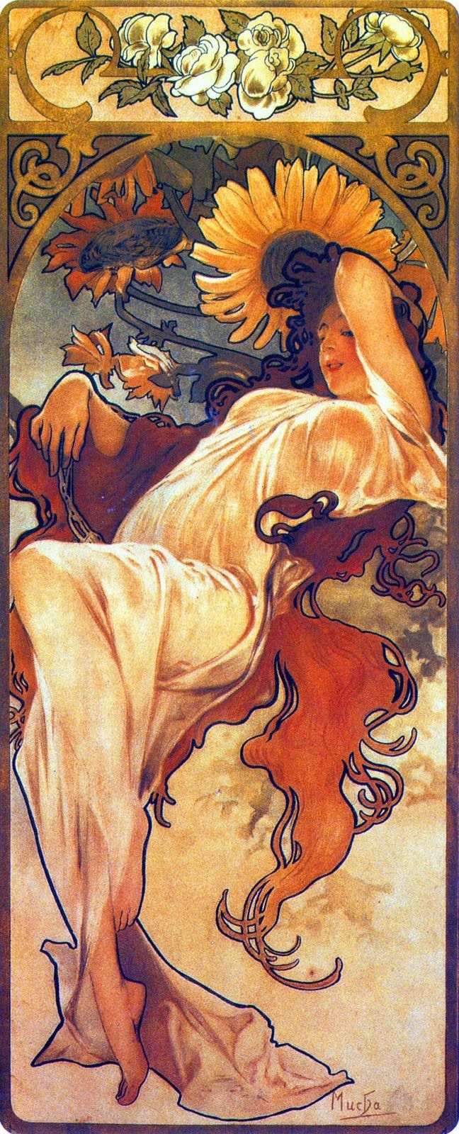 Alphonse Mucha (Czech, 1860 - 1939). The Seasons: Summer, 1897. Color Lithograph, 73 x 32 cm.