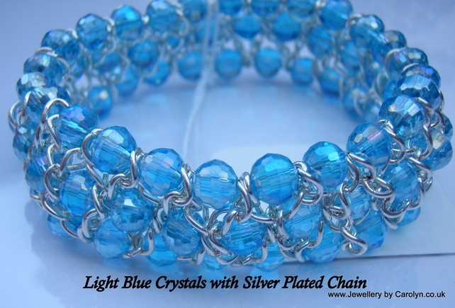 Light Blue Crystal and Silver Plated Chain Stretchy Cuff Bracelet