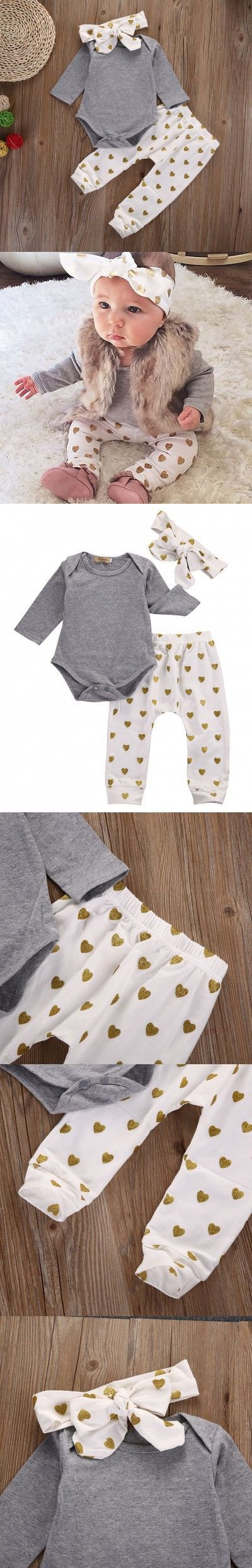 3pcs autumn warm 0-18M NewBorn toddler infant princess DOT Baby Girl Infant Top Shirt+Pant Legging+Headband Outfit Set Clothing $5.39