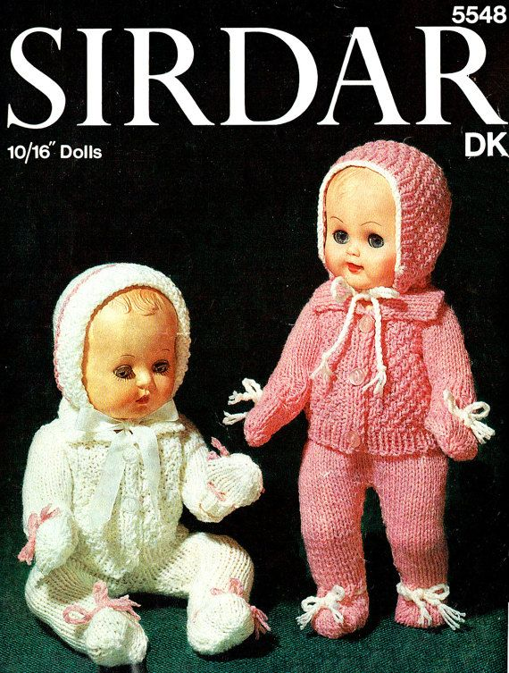Vintage 1960s Sirdar 5548 Dolls Clothes Knitting Pattern Pram