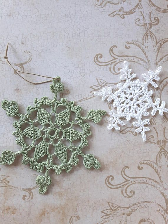 Check out this item in my Etsy shop https://www.etsy.com/ca/listing/514974598/crochet-snowflake-in-green-christmas