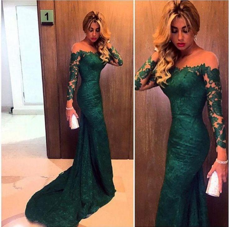 2016 Dark Green Long Sleeve Lace Sheath Evening Gown #LF0087