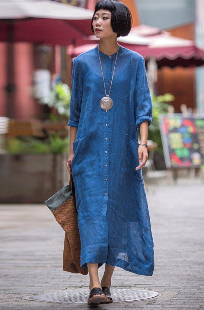 Long Dress Linen Cotton Shirt Casual Clothes for Women C1321A