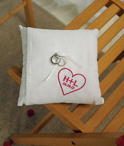 """""""Simply Sweet"""" Personalized Heart Ring Pillow"""
