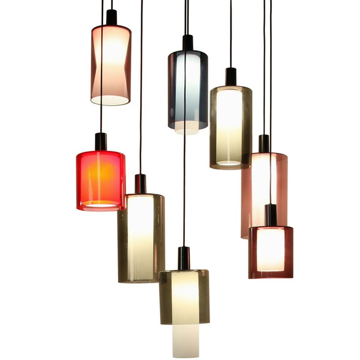 Chandelier from Various Modulair Old Stock Tapio Wirkkala Shades