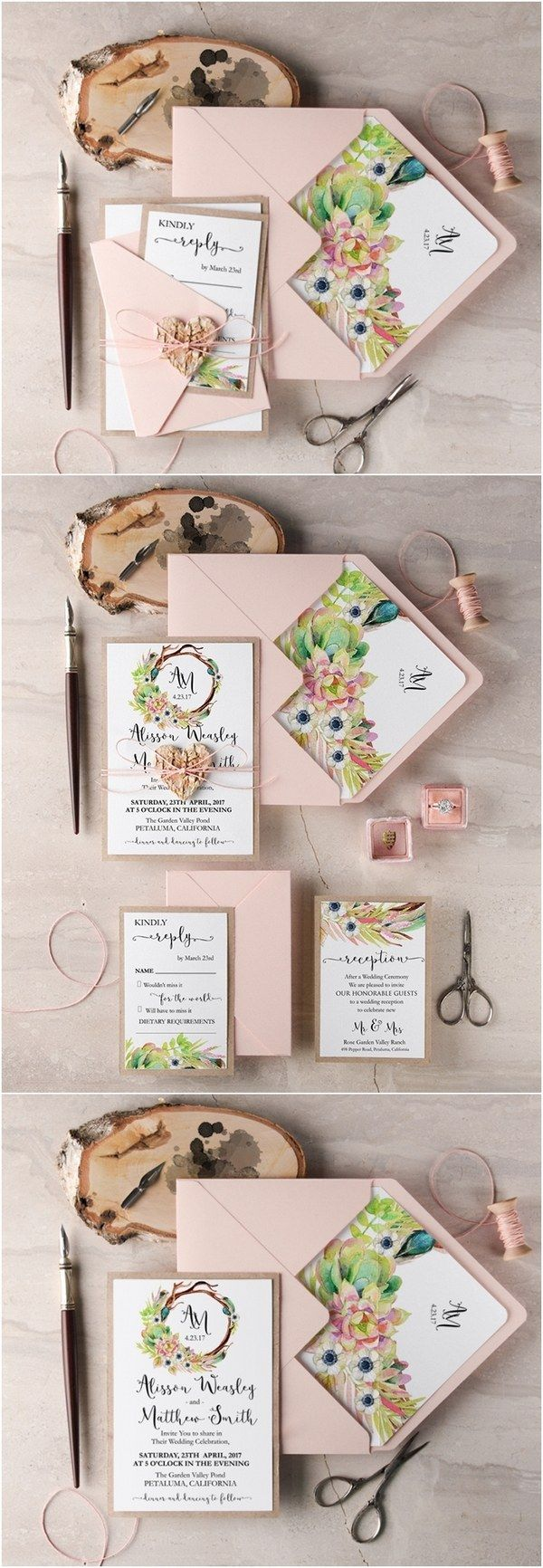 Rustic blush pink botanical wedding invitations / http://www.deerpearlflowers.com/rustic-wedding-guest-books-botanical-wedding-invitations/