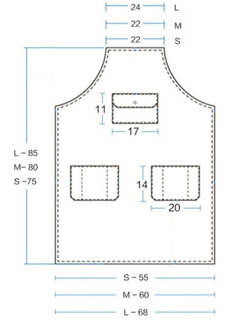 Cow SplitLeather Straps Can be Taken Off When Need to Wash the Aprons. Convenient Pockets and Copper rivets. Available Blank Square Leather Card in Front of Chest for Logo Print. Color: Blue, Gray. Size: M, L.