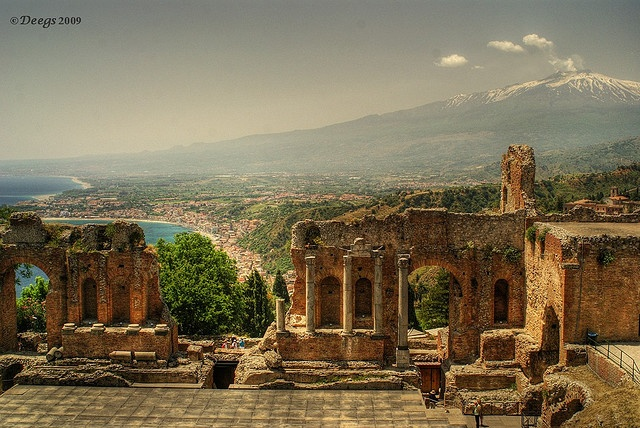 Greek Theatre,  Taormina, with Etna in the background.