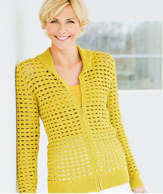 黄色镂空拉链衫 - 蕾妮 - 蕾雨轩