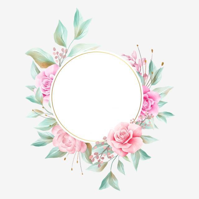 Elegant Watercolor Floral Frame With Soft Flowers Decoration Wedding Invitation Flowers Png Trans Logo Bunga Kartu Bunga Pola Bunga