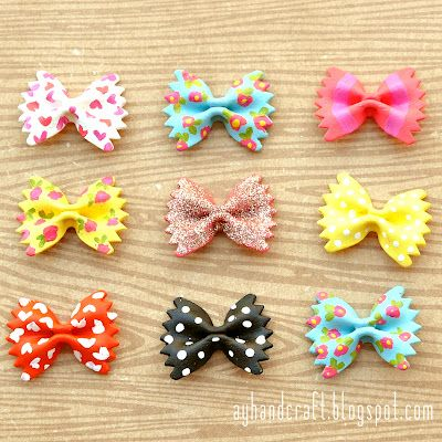 DIY Kids Crafts - Painted Bow Tie Pasta!   You could hot glue them on a hair clip ! So cute!