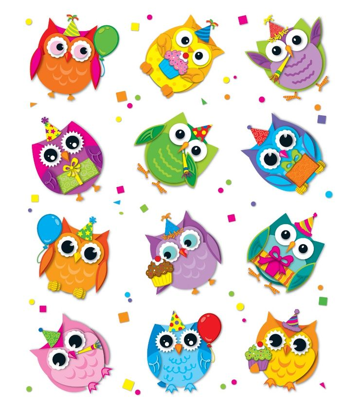 Celebrate with Colorful Owls Shape Stickers - Workbooks & Teacher Supplies…