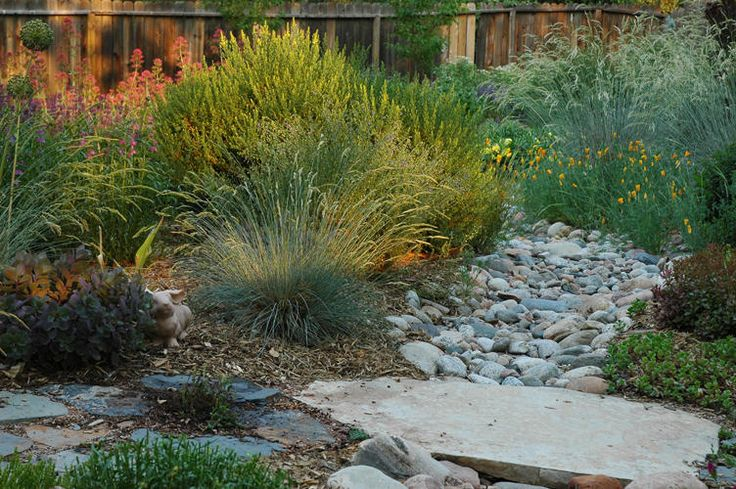 End dry riverbed into flagstone path