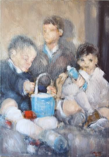 """Saatchi Art Artist simone Butturini; Painting, """"The three cousins"""" #art"""