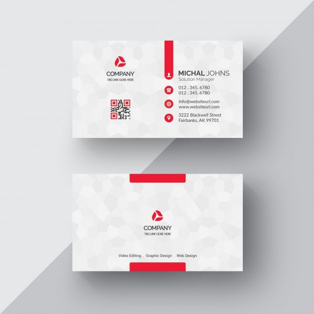 White Business Card With Red Details