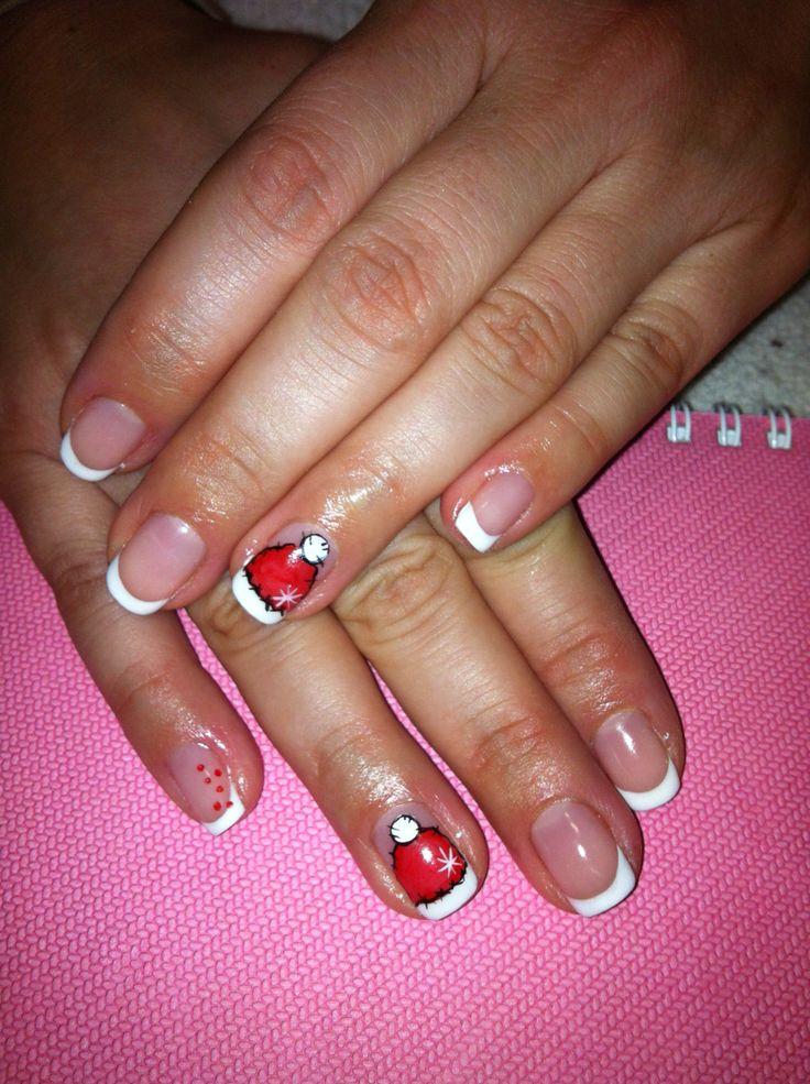 Christmas nails shellac french