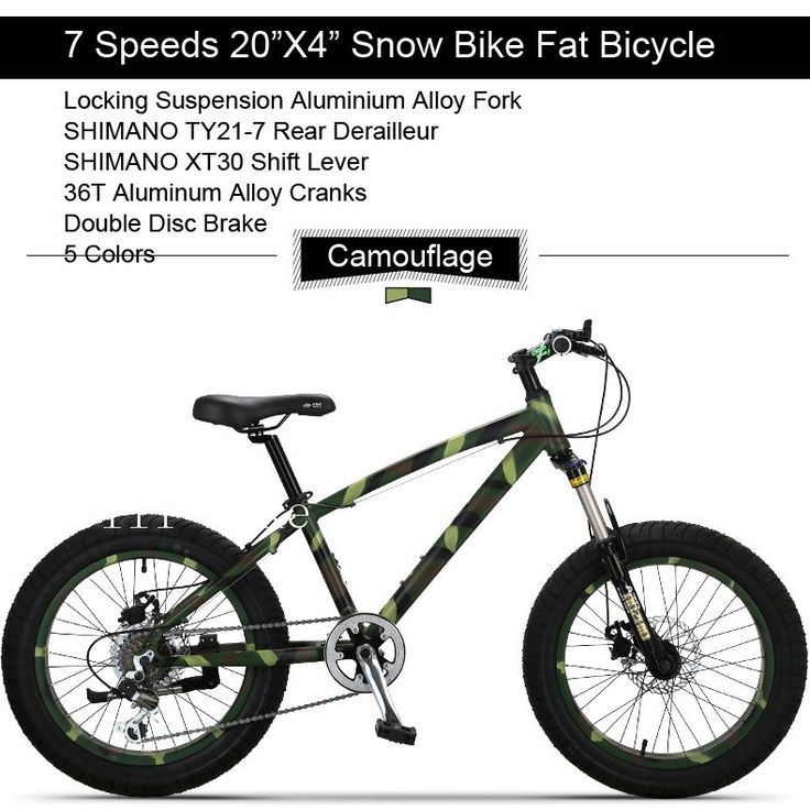 "297.00$  Buy now - http://alixxv.worldwells.pw/go.php?t=32369406124 - ""7 Speeds 20""""x11""""X4.0"""" Fat Tire Snow Bicicleta Mountain Bike20 Shock Suspension Fork Beach Bike Fat Bikes Bicicletas MountainBike"""