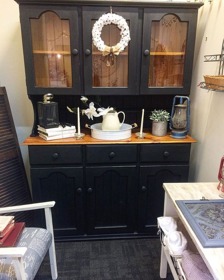 Hutch in Black and Wood Tones