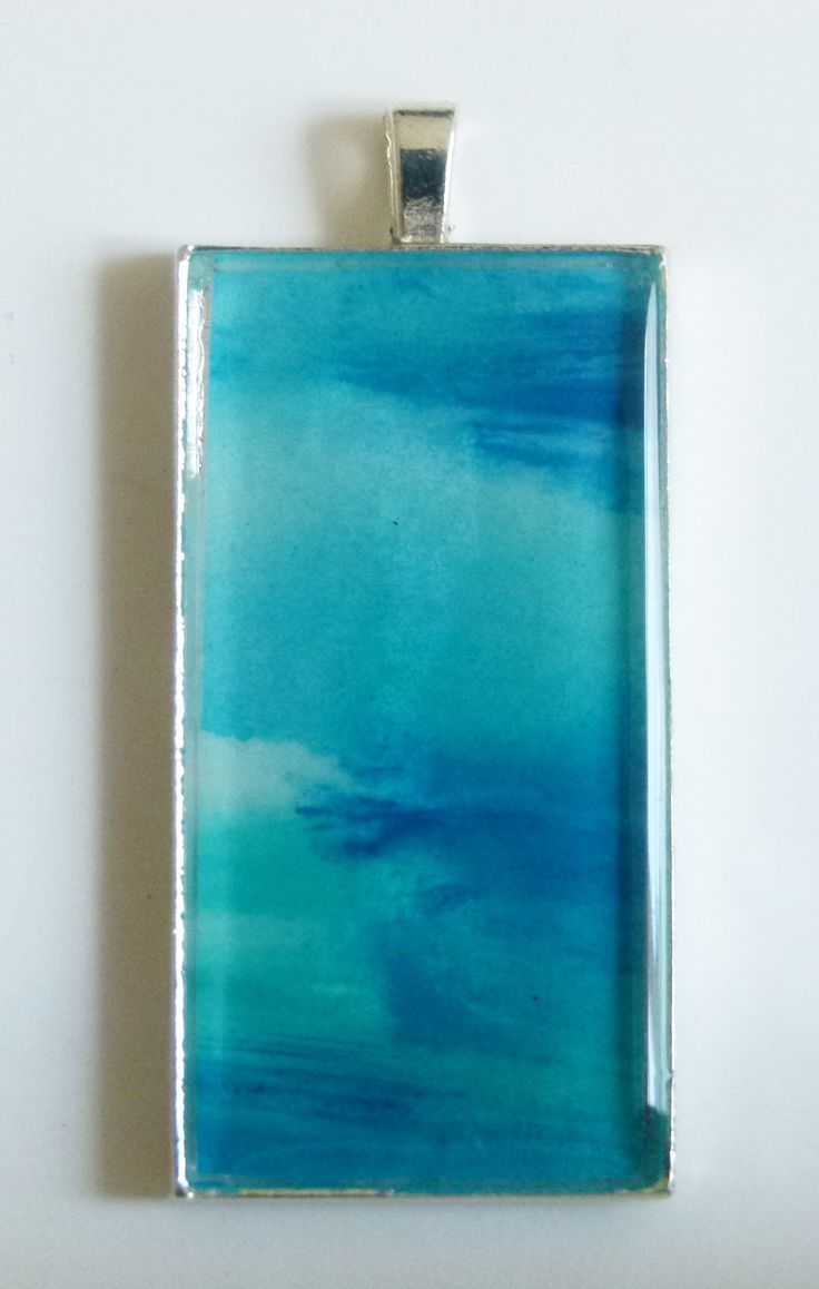"""Blue Depths"" - a 1""x2"" watercolour, framed in silver, under beautiful crystal resin.  See more at jackiesimmondsstudio - Etsy"