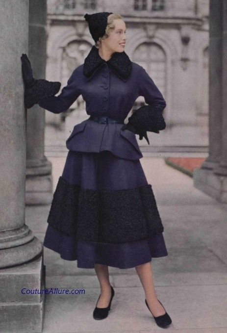1948 49 Christian Dior Suit Trimmed In Astrakhan Late