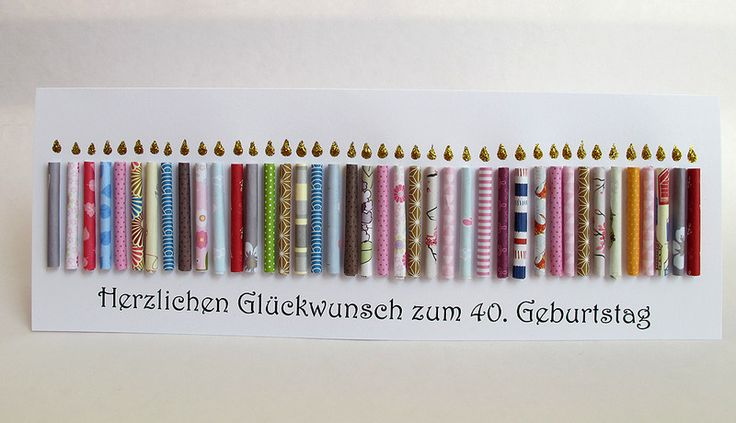 Riesige Geburtstagskarte, 40. Geburtstag, Kerzen von Berlin Art and Design auf DaWanda.com  Papierkerzen zum runden Geburtstag