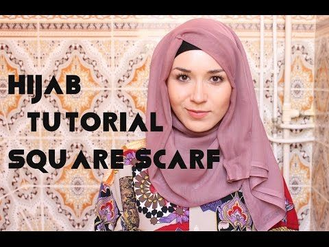 ▶ Hjab Tutorial l Square Scarf - YouTube