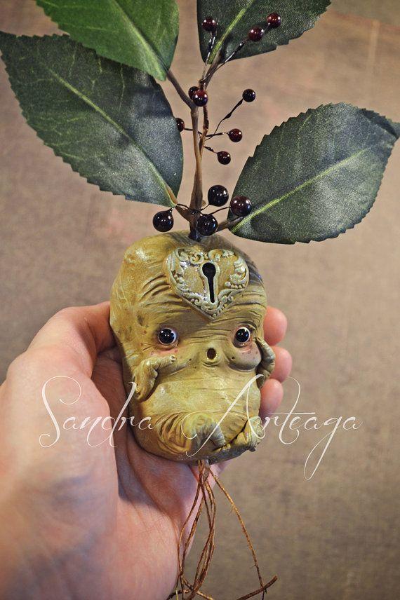 Gubbo Lulo  - art doll sculpt ooak fantasy fairy tale creature magical botanical roots mandrake eggplant mascot  flower green yellow