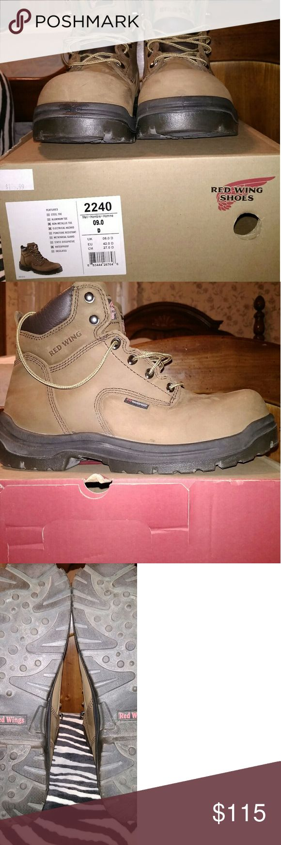 Red Wing Steel toe work boots Men's Red Wing steel toe work boots size 9 D. Worn twice for less than an hour each time Red Wing Shoes Shoes Boots