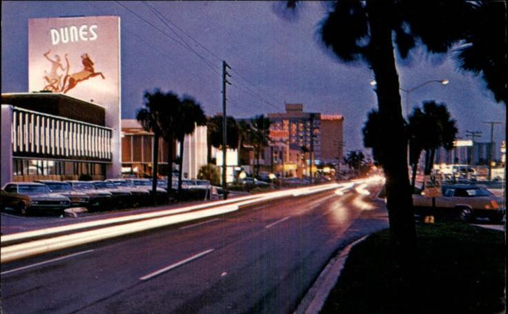 Miami Beach Fl Motel Row Night Street Scene Old Cars Post